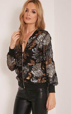 Carah Black Mesh Sequin Embellished Bomber Jacket Image 5