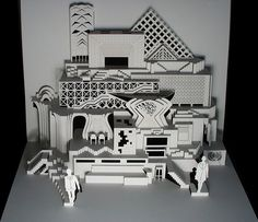 jocundist: incredible pop-up cities cut from single sheet of paper