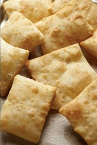 Sante Fe School of Cooking/ Sopapilla Recipe - These look like the sopapillas we used to get in New Mexico. Not as a dessert, but as a bread with the meal. Peel open a corner, pour in some honey, and you are instantly transported to heaven!