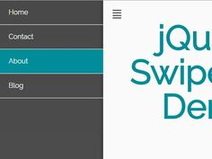 SwipeNav is a mobile-friendly jQuery site navigation plugin which reveals an off-screen push menu with touch swipe events or by clicking on the hamburger toggle button.