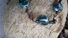 This is a handmade one of a kind bracelet that has been antiqued to show the unique color and depth of the exquisite porcelain beads. Woven Bracelets, Wire Weaving, Unique Colors, Copper Wire, Porcelain, Beads, Antiques, Handmade, Stuff To Buy