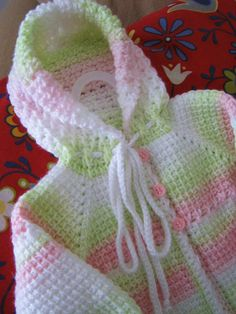 Cute Pink Green White Crochet Baby Girl Sweater with Hood - 0-6 Months in Tunisian Crochet - Handmade