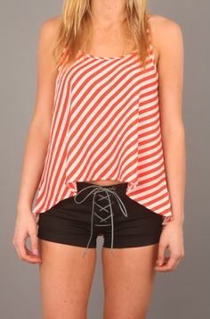 """Stade Womens """"Red Striped Spaghetti Straped Top"""" Use Code STASH20 for 20% OFF #Stashbox117 #clothing #apparel #teeshirt #tank #tops #Stade"""