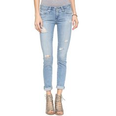 AG The Stilt Cigarette Jeans ($225) ❤ liked on Polyvore featuring jeans, ag adriano goldschmied, cigarette jeans, slim jeans, frayed jeans and ag+adriano+goldschmied jeans