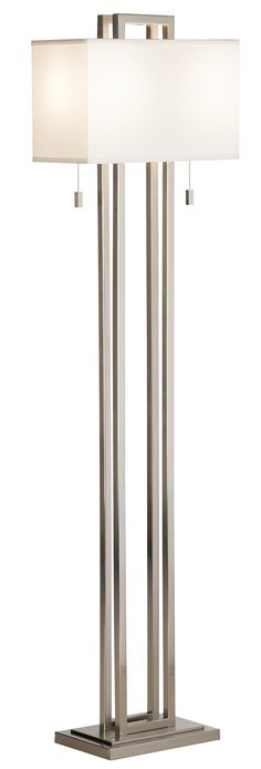 Possini Euro Design Double Tier Brushed Nickel Floor Lamp - $270