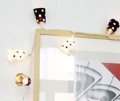 Chain of light black and white polka dots  holiday lights