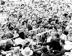 President John F. Kennedy greets a crowd at a political rally in Fort Worth, Texas several hours before his assassination in this November  22, 1963 photo by White House photographer Cecil Stoughton obtained from the John F. Kennedy Presidential Library in Boston.
