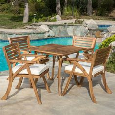 Shop Outdoor Hermosa 5-piece Acacia Wood Dining Set with Cushions by Christopher Knight Home - Overstock - 11152131 - Teak + Creme Cushion