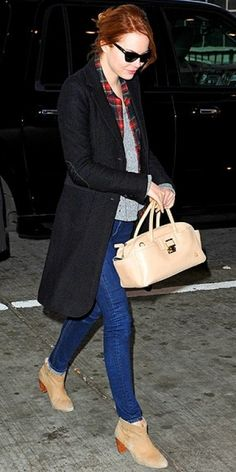 Jeans, Nude handbag and ankle boots, Black Blazer and Plaid top. Not too shabby.