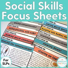 Visuals for social skills groups! Great printable to pair with any speech therapy activity or game. From Speechy Musings.