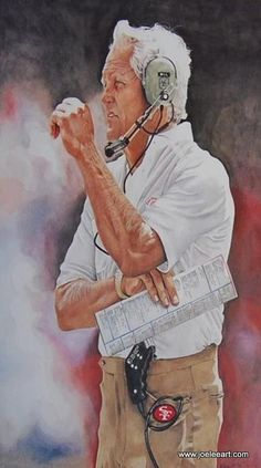Bill Walsh by Joe Lee. Bill Walsh is the author of modern pro football. He was an innovator and a coaching genius. Sf Niners, Forty Niners, San Francisco Football, San Francisco Giants, Nfl 49ers, Football Team, Bill Walsh, Professional Football, Sports Stars