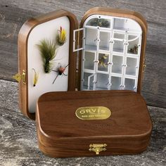 Orvis hardwood walnut fly box makes an ideal fishing gift.