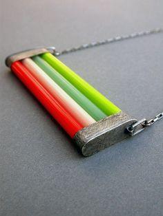 """couleur de verre collier lumineux néon oxydé géométrique moderne """"BOLD"""" funky…"""