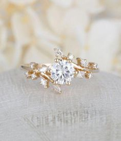 This Yellow gold engagement ring Diamond Cluster ring Unique moissanite Delicate leaf wedding women Bridal set Promise Anniversary Gift for her is just one of the custom, handmade pieces you'll find in our engagement rings shops. Leaf Engagement Ring, Diamond Cluster Engagement Ring, Dream Engagement Rings, Morganite Engagement, Engagement Ring Settings, Diamond Wedding Bands, Wedding Rings, Diamond Rings, Leaf Wedding Band