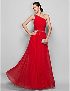 TS+Couture®+Prom+/+Formal+Evening+/+Military+Ball+Dress+-+Open+Back+Plus+Size+/+Petite+Sheath+/+Column+One+Shoulder+Floor-length+Chiffon+with+Beading+–+USD+$+89.99