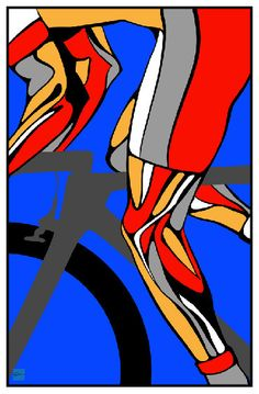 Tour de France Cycling poster illustration door ArtBySassanFilsoof