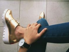 Rose gold flatform oxfords metalic shoes My faves right now ! :)