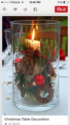 Pinecones, candle & balls