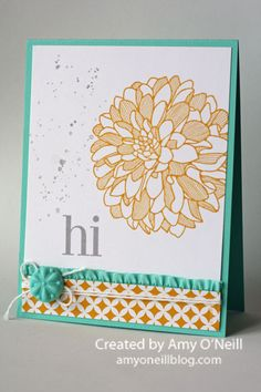 Regarding Dahlias, Gorgeous Grunge Ink:  Crushed Curry, Smoky Slate Paper:  Coastal Cabana, Whisper White, Eastern Elegance dsp Embellishments:  Boutique Details, White Baker's Twine, Coastal Cabana 3/8″ Ruffle Stretch Trim