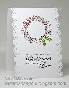 handmade Christmas card from Wizard's Hangout: A lifted card idea... super easy ... wreath stamp ... MS border punch ... great look ...