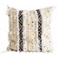 Handira Moroccan Wedding Blanket Cushion Cover Case With Sequins - Hand Wooven Wool - CREAM WHITE