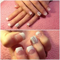 Acrylic tips with silver and pink dimonties