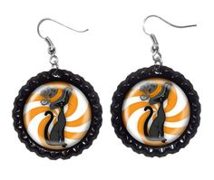 Halloween Earrings Black Cat Earrings   Halloween by MagnoliaAlley