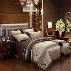 Tribute Silk Bedding 4 Pieces Bedclothes Embroidery Luxury Queen King Bedding Sets Camel Gold and More Bedding Sets in