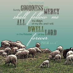 Surely goodness and mercy shall follow me all the days of my life, and will dwell in the house of the Lord forever. Psa 23:6 <3