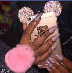 Pink nails #blackgirlnails