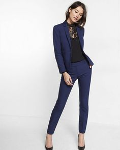 24-Inch Blazer and Columnist Ankle Pant | Express blue suit