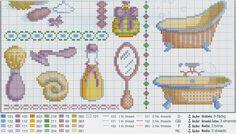 Cute bath accessories (part 2) free cross stitch pattern from www.coatscraft.pl Patrones y esquemas en punto de cruz