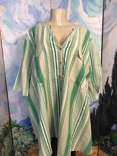 ROAMANS PLUS 30W NEW GREEN STRIPED BUTTON TEXTURED SHORT TAB SLEEVE TUNIC TOP #Roamans #ButtonDownShirt #Casual