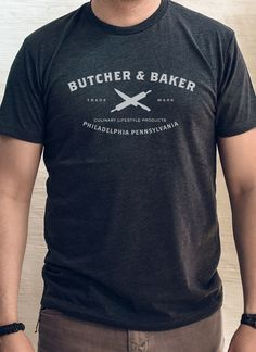 """""""BUTCHER AND BAKER VINTAGE LOGO"""" - CREW TEE from Butcher and Baker"""