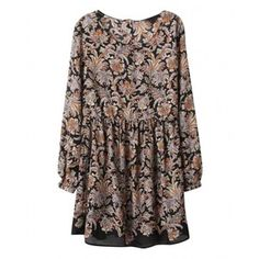 Floral Print Long-sleeves Buttoned Chiffon Dress