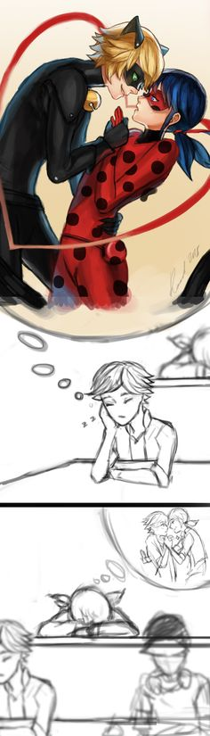 Look at these two dorks. (Adrien and Marinette) (Miraculous Ladybug) - credit to artist