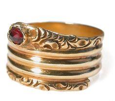 Gold snake ring. Ca 1900