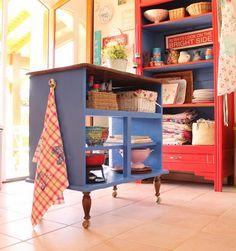 isla para la cocina en arteneus Una isla para la cocina, con un mueble reciclado!!