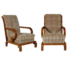 Pair of Art Deco Club Chairs | From a unique collection of antique and modern club chairs at http://www.1stdibs.com/furniture/seating/club-chairs/