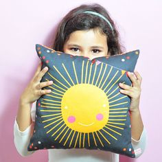 decorative throw pillow for kids room with sun in by PinkNounou