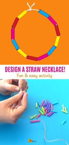 Easy Arts And Crafts, Crafts To Do, Crafts For Kids, Fun Activities For Kids, Preschool Activities, Finger Gym, Toddler Necklace, Straw Crafts, Kindergarten Crafts