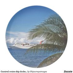 Carnival cruise ship docked at Grand Cayman Island Party Plates