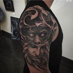 Tattoo by Josh Duffy. #inked #inkedmag #tattoo #black #grey #work #portrait #amazing #dark