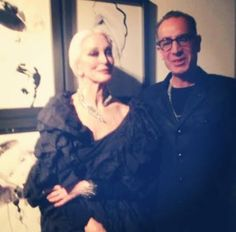 Stephen Dweck with Carmen Dell'Orefice at an event celebrating the work of fashion illustrator David Downtown.   http://instagram.com/stephendweckjewelry