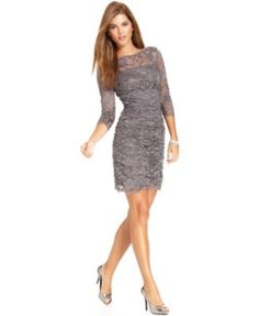 Eliza J Dress, Three-Quarter-Sleeve Ruched Lace Cocktail Dress