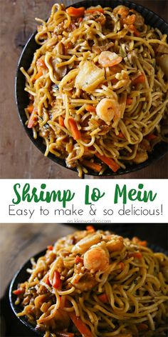 Shrimp Lo Mein is another easy family dinner idea that will have you in & out of the kitchen in just 30 minutes. Simple, fast & so yummy! family dinner Shrimp Lo Mein - Kleinworth & Co Fish Recipes, Seafood Recipes, Asian Recipes, Dinner Recipes, Cooking Recipes, Healthy Recipes, Oriental Recipes, Chinese Recipes, Dinner Ideas