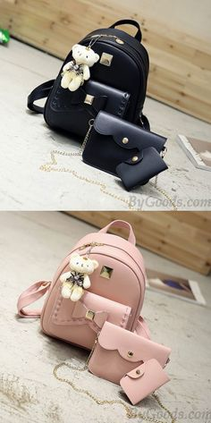 Cute Gray Pink Splicing Bowknot College Bag Bear Pendant PU Bow School Backpacks for big sale! College Bags For Girls, Bags For Teens, Girls Bags, Cute Mini Backpacks, Big Backpacks, School Backpacks, Retro Backpack, Backpack Bags, Bag Sewing