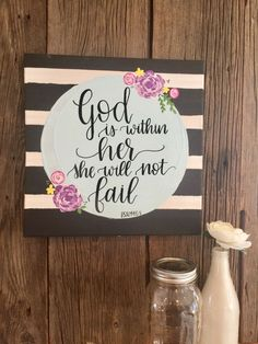"""God is within her, she will not fail Psalm 46:5.  //  Hand painted floral and hand lettered scripture 12x12"""" canvas.  Chicorylaneandco.etsy.com"""