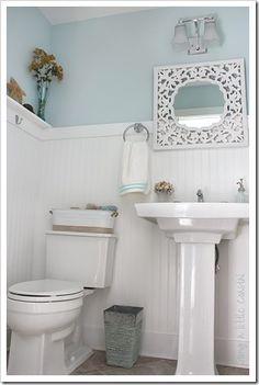 Love the beadboard and mirror in this bathroom by Anita from: http://goingalittlecoastal.blogspot.com/2010/09/finallythe-bathroom.html ~~