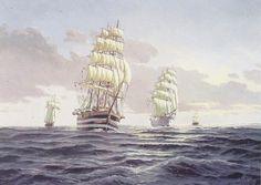 Veleros en la Gran Regata Colón 1992. Óleo 60 x 81 cm. Obra de Esteban Arriaga